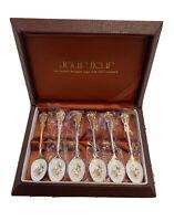 Jouir Fleur Box Of 6 Silver Plated Teaspoons With Floral Pattern BNIB Cloisonné