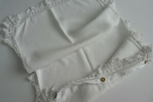 Antique Single Oxford Style White Cotton Pilllow Case Cloth Buttons, Crocheted