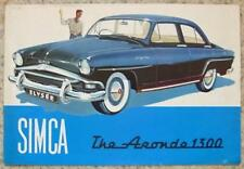 SIMCA ARONDE 1300 les ventes automobiles Brochure 1956 ELYSEE CHATELAINE Grand Large
