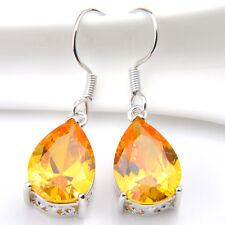 Water Drop Yellow Citrine Gems Silver Dangle Hook Earrings