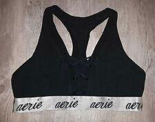 Aerie Logo Lace Up Black Bralette Size Extra Large Unlined Cotton Lounge Bra