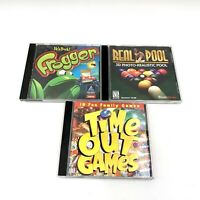 Lot of  3 Family PC Games Real Pool Frogger Time Out Games Win 95 98 CD-ROM