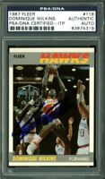 Hawks Dominique Wilkins Authentic Signed Card 1987 Fleer #118 PSA/DNA Slabbed