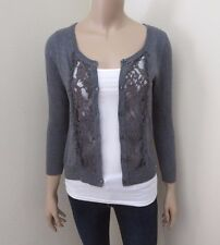 NEW Hollister Women Floral Lace Cardigan Size Small Gray Top Blouse Shirt