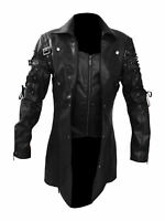 NEW MEN'S STEAMPUNK LEATHER TRENCH COAT