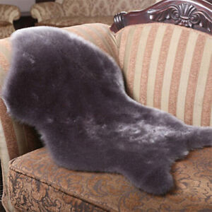 Soft Plain Fluffy Bedroom Faux Fur Fake Single Sheepskin Rugs Washable Hairy Mat