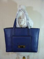NWT FURLA Navy Pebbled Leather Julia Tote Bag $398 - Made in Italy