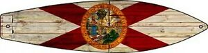 "FLORIDA STATE FLAG METAL SURFBOARD NOVELTY SIGN 17"" x 4.5"" PATIO POOL DECK BAR"