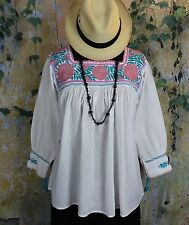 Mauve Teal & Pink Hand Embroidery Blouse Maya Chiapas Mexico Cowgirl Hippie Boho