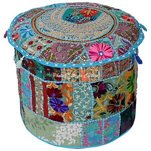 Ethnic Pouf Ottoman Cover Turquoise Cotton Patchwork Embroidered Round 16 Inch