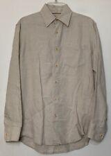 INDIGO PALMS Linen Shirt Men's Size S Long Sleeve Button Down Beige 100% Linen