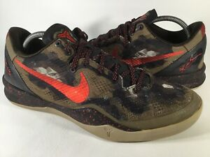 Nike Kobe 8 System Python Camo Red Green Mens Size 10 Rare 555035-300 Basketball