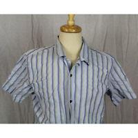 Banana Republic Short Sleeve Blue Striped 100% Cotton Button Shirt Men Sz M EUC