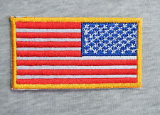 """AMERICAN FLAG w/Yellow BORDER Iron On Embroidered Patch/Patriotic about 3""""×1.5"""""""