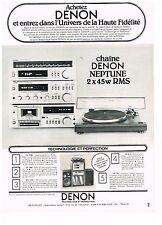 PUBLICITE advertising 1979   DENON   hi-fi chaine NEPTUNE