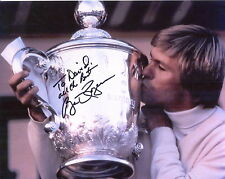 BILL ROGERS HAND SIGNED 8x10 PHOTO+COA    KISSING OPEN TROPHY     TO DAVID