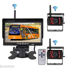 """2P Wireless IR Rear View Back up Camera Night Vision System+7"""" Monitor for Truck"""