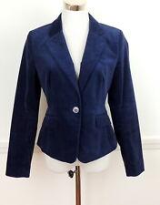 Ann Taylor Loft 4 Romantic Blue Velvet Boyfriend Blazer Jacket Single Button