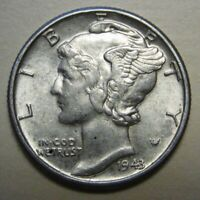 1943 Mercury Head Silver Dime Grading in the AU Range Nice Original Coins
