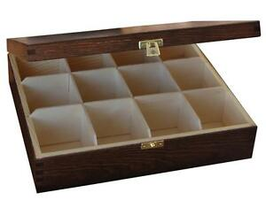 Wooden Tea Box Bag Chest  12 Compartment Tea Caddy Kitchen Brown Laquered H12b