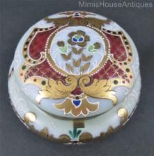 "Antique JEWELRY trinket BOX dresser jar Bohemian Art Glass Enamel & GOLD 4"" x 2"""