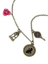 Disney Beauty and The Beast Charm Necklace Licensed Belle & Beast Enchanted Rose