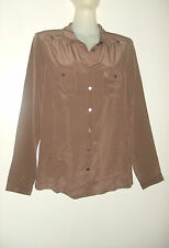 CYRILLUS CHEMISE 100% SOIE NATURELLE FR42, EU40, UK14, IT46, US 12 TAUPE PRALINE