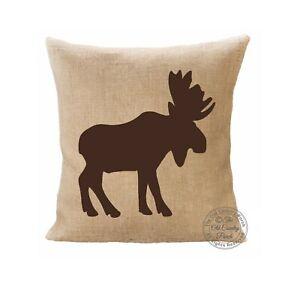 Burlap Throw Pillow Cover - Moose
