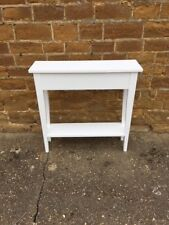 BESPOKE H90 W70 D20cm CONSOLE HALL TABLE CHUNKY WHITE 1 SHELF TAPERED LEGS