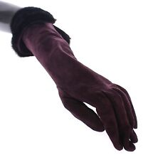 NWT $2640 DOLCE & GABBANA Purple Mink Fur Goatskin Suede Leather Gloves 7.5 / M