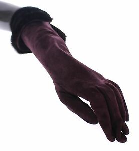 DOLCE & GABBANA Purple Mink Fur Goatskin Suede Leather Gloves 7.5 / M RRP $2640