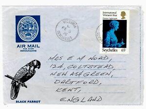 SEYCHELLES - 1976 BLACK PARROT Aerogramme to UK with 65c FLORENCE NIGHTINGALE