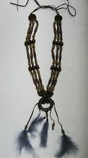 Native American Indian Dream Catcher Necklace Wood Beads Costume Prop Feathers