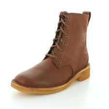 Clarks MARU MALI Womens Tan Leather Lace Up Combat Boots