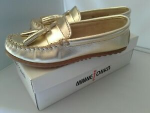 Minnetonka Women's Grace Moccasins - Gold Leather with Rubber Sole - New in Box