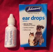 Johnsons Ear Drops Dog Cat 15ml Kills Mites Soothes Irritation Soft Wax