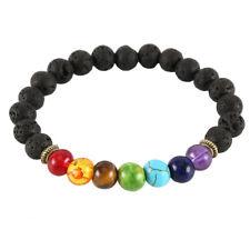 7 Chakra Healing Beaded Bracelet Natural Lava Mala Stones Reiki Anxiety Jewelry