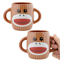 2pk Sock Monkey Coffee Mug Set Two-Handled Ceramic Mugs Novelty Microwave Safe