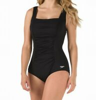 Speedo Women's Swimwear Black Size 8 Square Neck Shirred Ruched Swimsuit $88 209