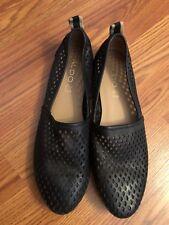 79f71c3d34a ALDO Black Leather Perforated Umeliwet Slip On EUR 39 US 8.5 Flats Ballet  Loafer