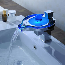 Color Changing LED Waterfall Bathroom Sink Faucet TAP Sink Mixer (Unique Design)