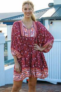 Bohemian Summer 3/4 Sleeve Tunic Dress 12 NWT Holiday Beach Casual Resort