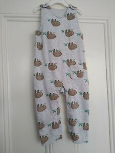 18-24m: Cute grey sloths jersey dungarees:  M&S: Good condition: Combine post