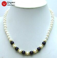 """6-7mm Natural White Pearl & 8mm Black Agate 17"""" Chokers Necklace for Women 5832"""