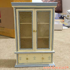 Dollhouse Miniature Wooden Ivory White Visual Cabinet Bookcase 1:12 Scale Model