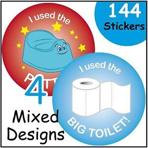 144 Boys / Girls Potty Training Reward Stickers Parents Toilet Award, 30mm size
