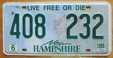 New Hampshire 2000 License Plate NATURAL # 408 232