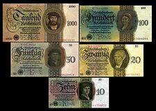 ** 5,10,20,50,100,1000 Reichsmark,Mark,1924-1945 Deutsche Reichsbank 2 Sätze **