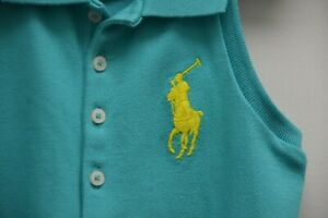 NEW Ralph Lauren Girls TOP Cotton Turquoise Embroidered LARGE PONY LOGO 3 3 T