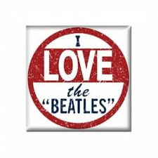 The Beatles Square Metal Fridge Magnet I Love The Beatles Cello Pack White Red